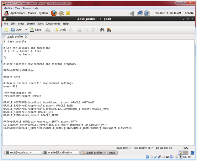 Oracle Database 12c on Oracle Linux 6 – Step 21: Edit the