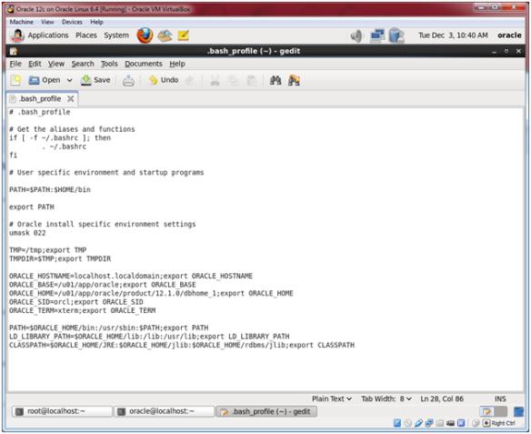 Oracle Database 12c on Oracle Linux 6 – Step 21: Edit the oracle